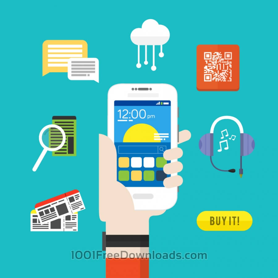 Free Vectors: Smartphones functions and services - Android Device | Objects