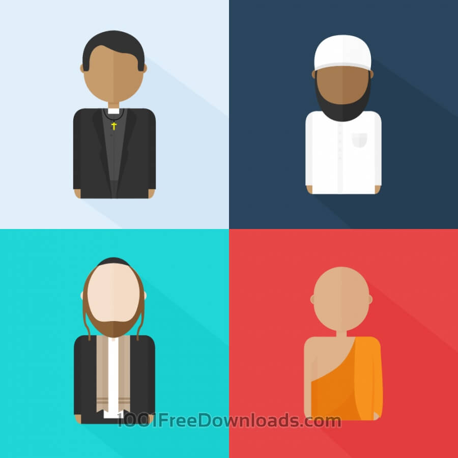 Free Religious characters (Christian, Jew, Muslim and Buddhist)