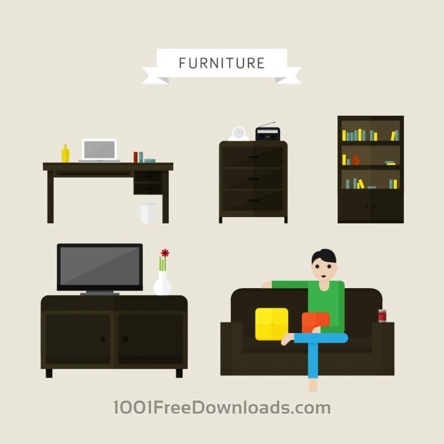 Free Vectors: House and office furniture illustrations | Icons