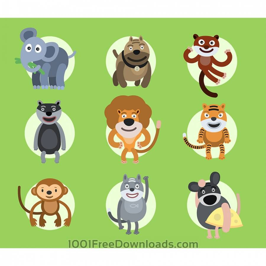 Free Vectors: Set of vector illustrated animals. For free design | Nature
