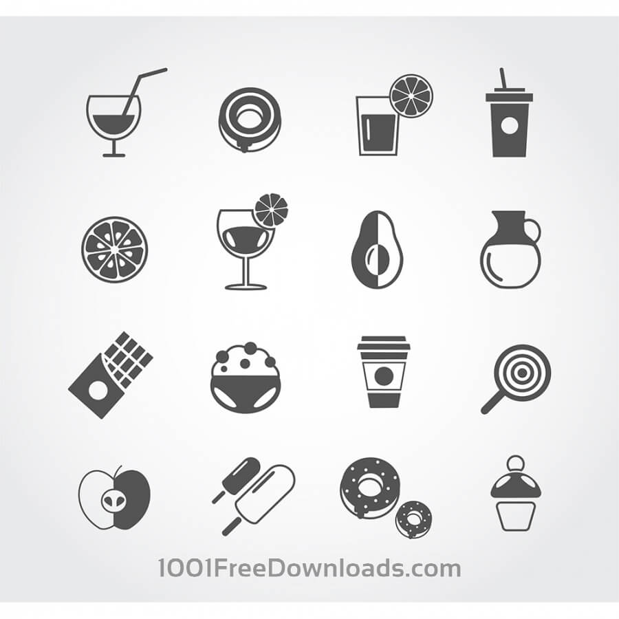 Free Vectors: Food free vector mono color set. Icons for design | Food & Drinks