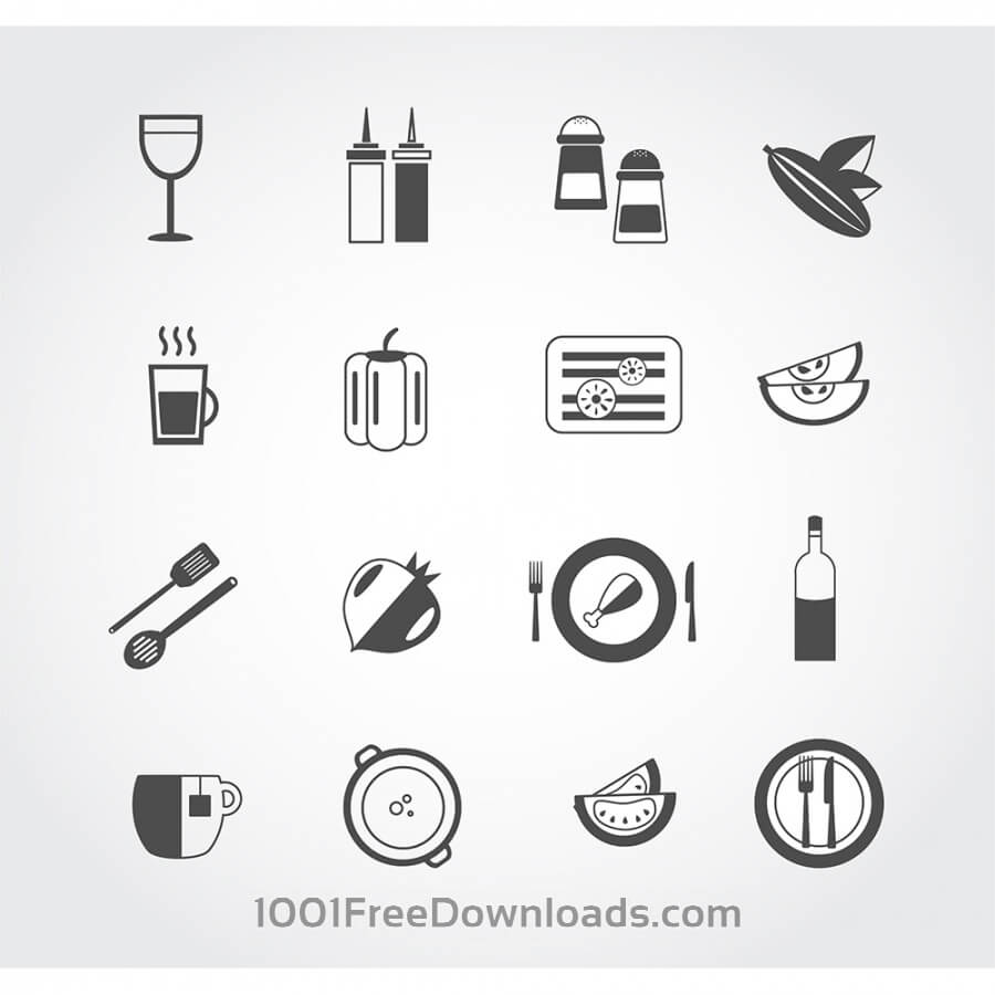 Free Vectors: Food free vector mono color set. Icons for design | Objects