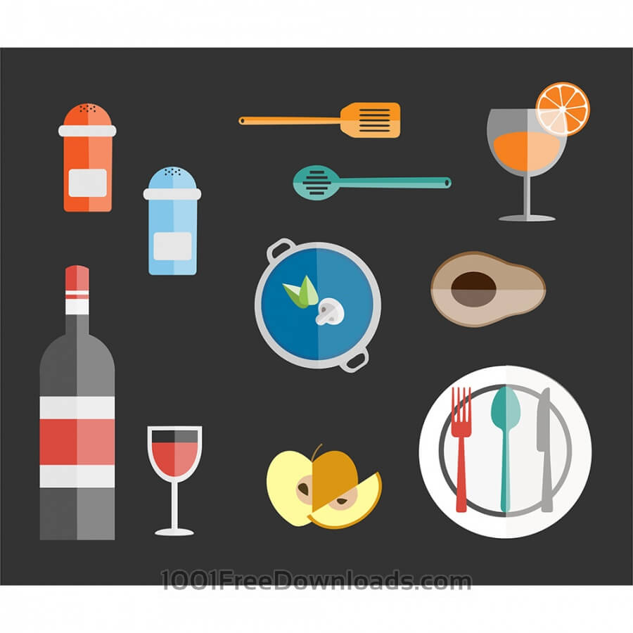 Free Food free vector set. Icons for design