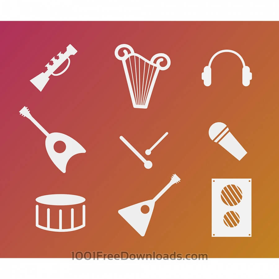 Free Vectors: Vector free music instruments icons set for design | Objects