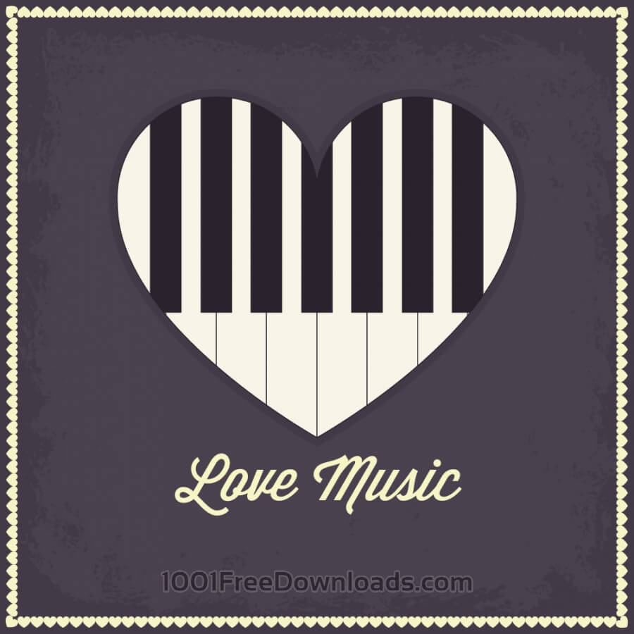 Free Vectors: Music illustration with heart and piano keyboard | Abstract