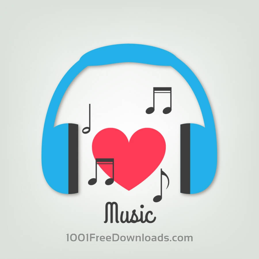 Free Music illustration with headphones and heart