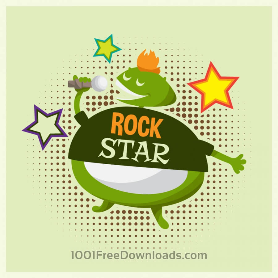 Free Music illustration with cute rock monster