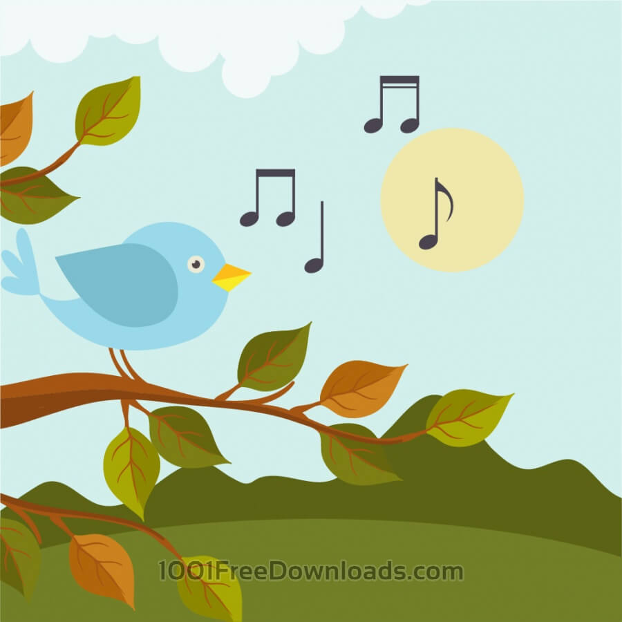 Free Vectors: Music illustration with bird  | Backgrounds