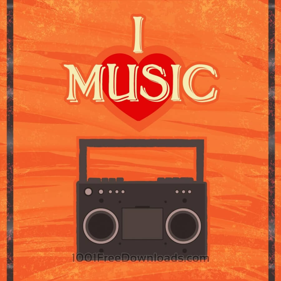 Free Music illustration with radion and typography