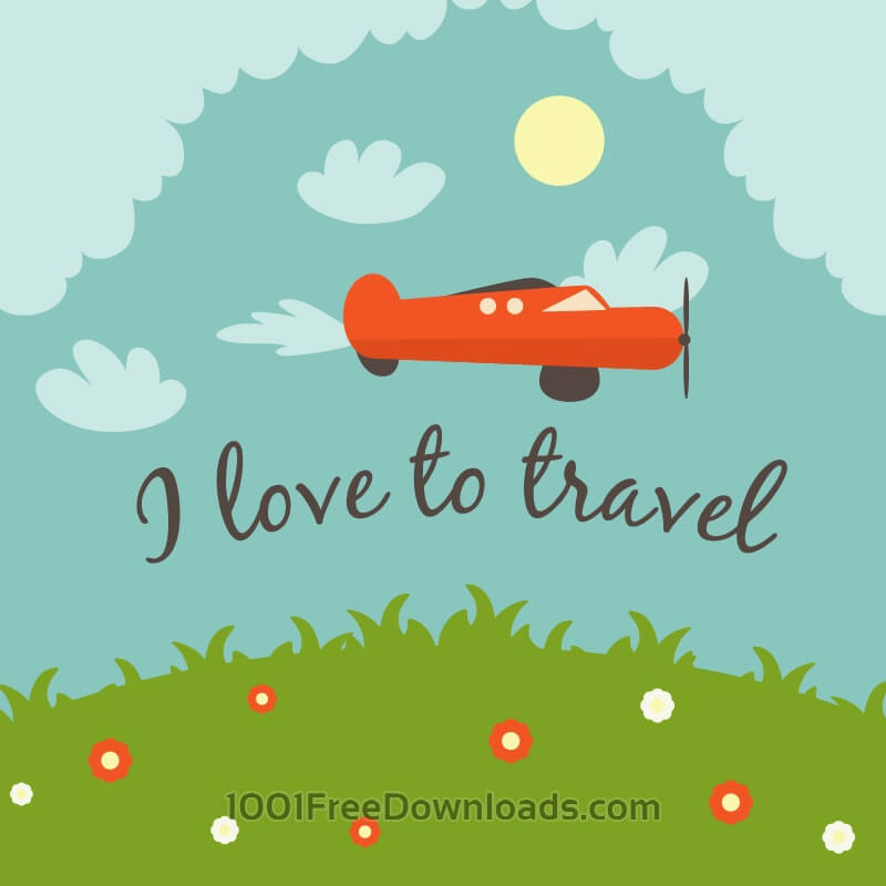 Free Doodle landscape with airplane and typography