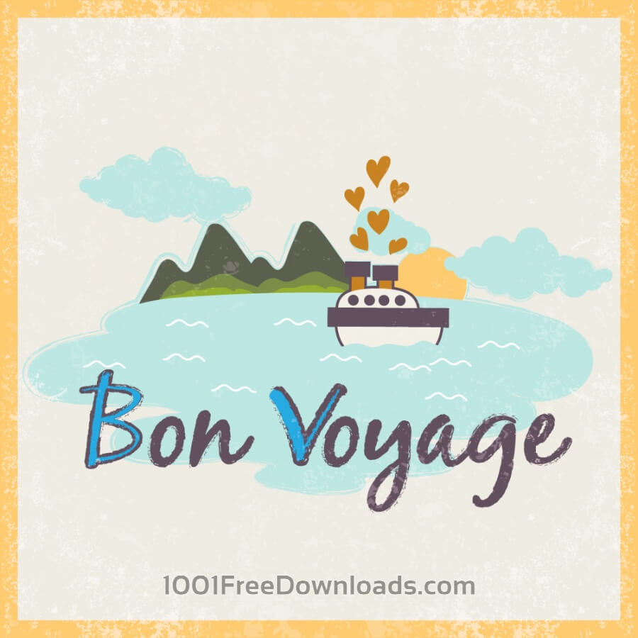 Free Summer illustration with ship and typography