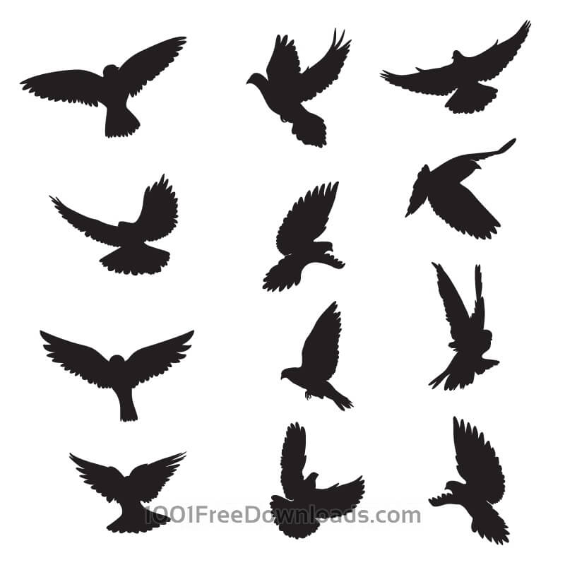 Free Set of silhouettes of doves