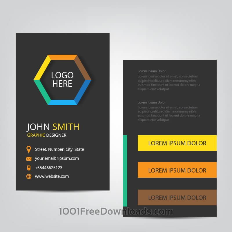Free Vectors: Vertical Business Card | Abstract