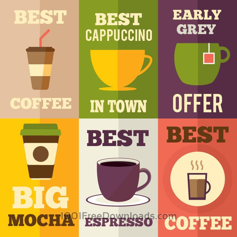 Free Coffee flat design set of illustrations