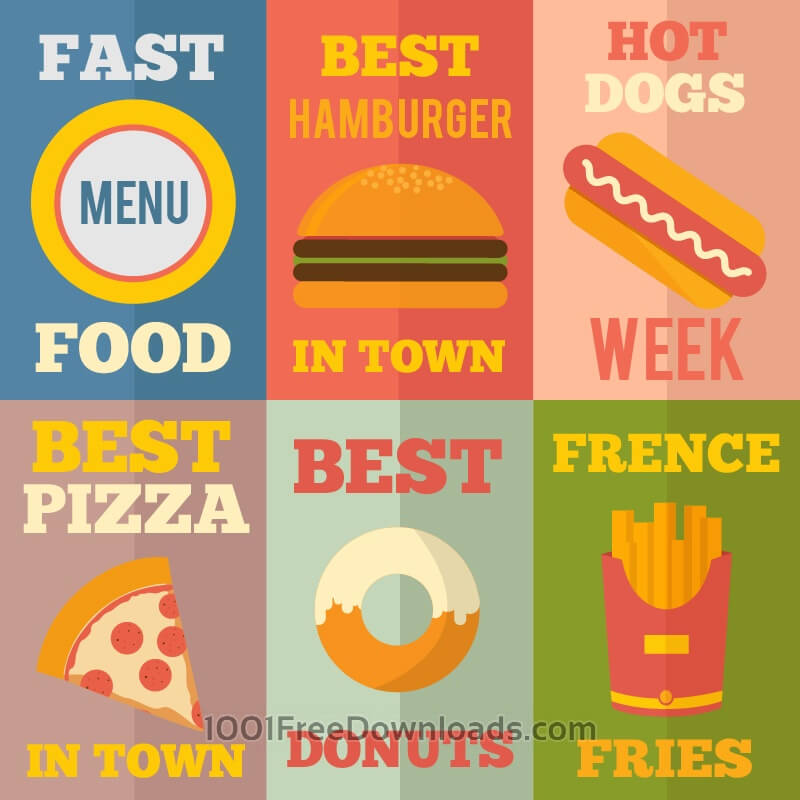 Free Retro Fast Food Illustrations, Flat Design Concept