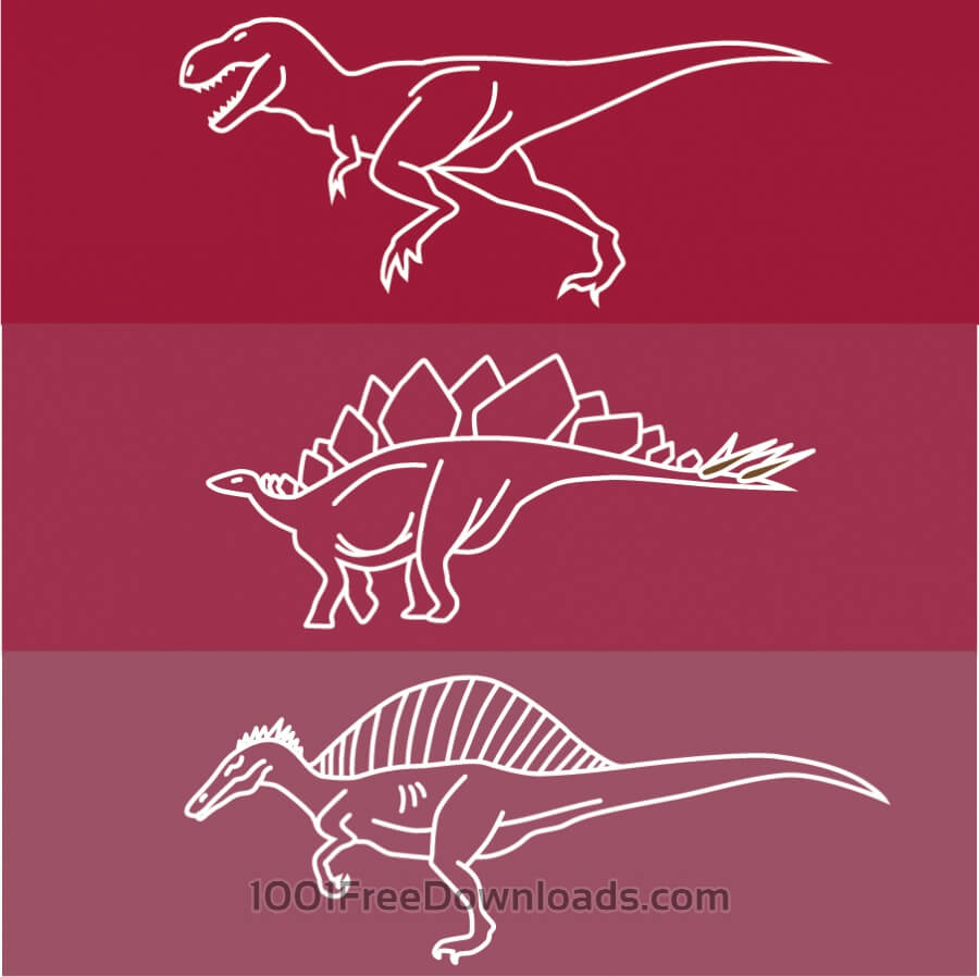 Free Dinosaur line drawing icons