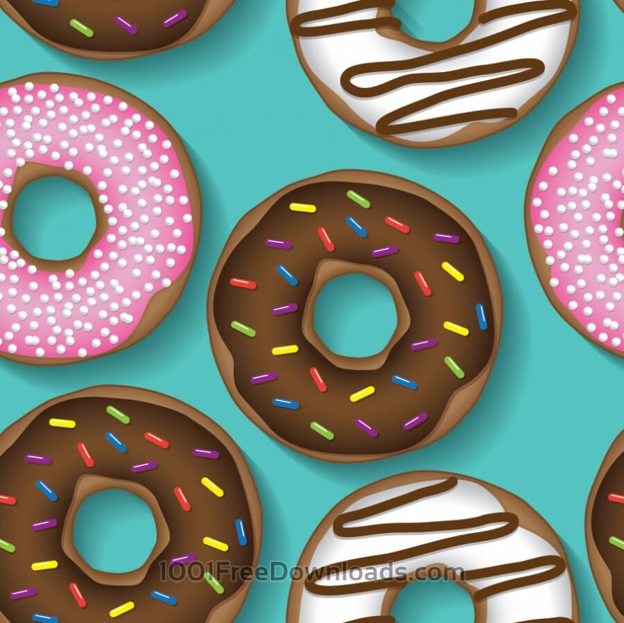 Free Vectors: Doughnut repeating pattern | Patterns