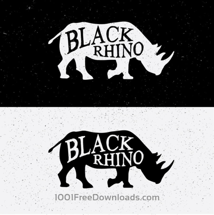 Free Black Rhino Hand Drawn On Black and White