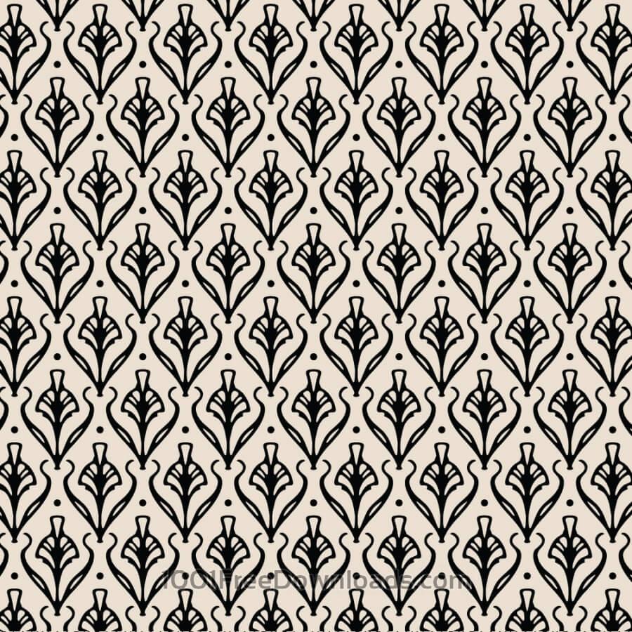 Vintage Ornate Black and Cream Pattern
