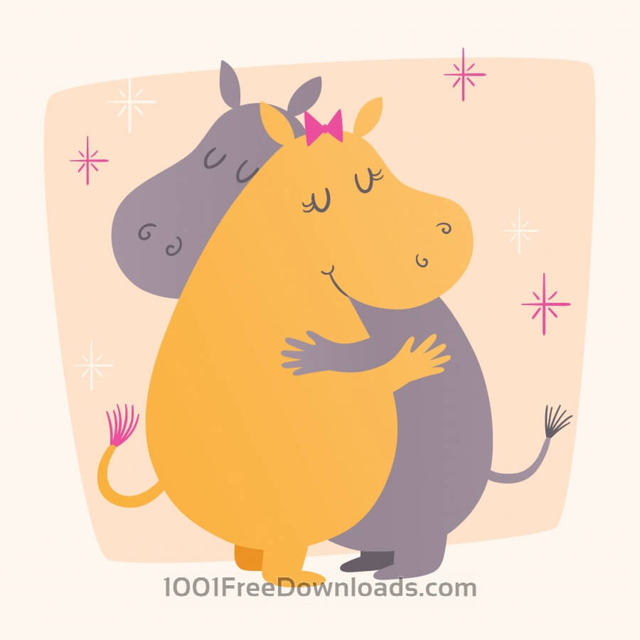 Free Vector illustration with cute hippos hugging