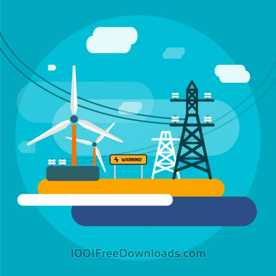 Free Electricity station for energy supply. Free vector illustration for design