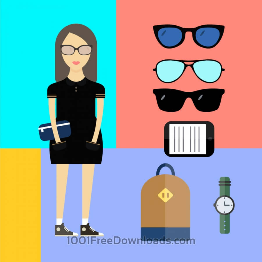 Free People vector woman character with tools and objects. Free illustration for design