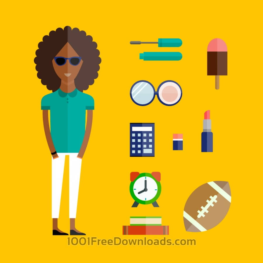 Free People vector afro girl character with tools and objects. Free illustration for design
