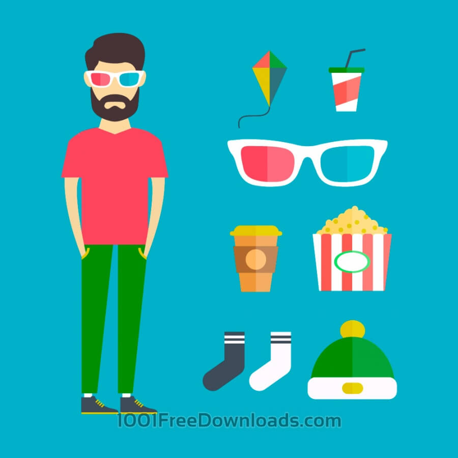 Free Vectors: People vector young character with tools and objects. Free illustration for design | Design