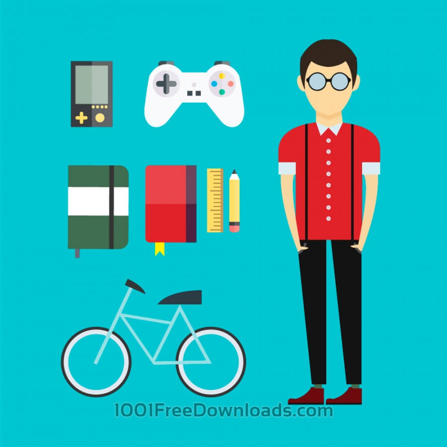 Free People vector designer character with tools and objects. Free illustration for design