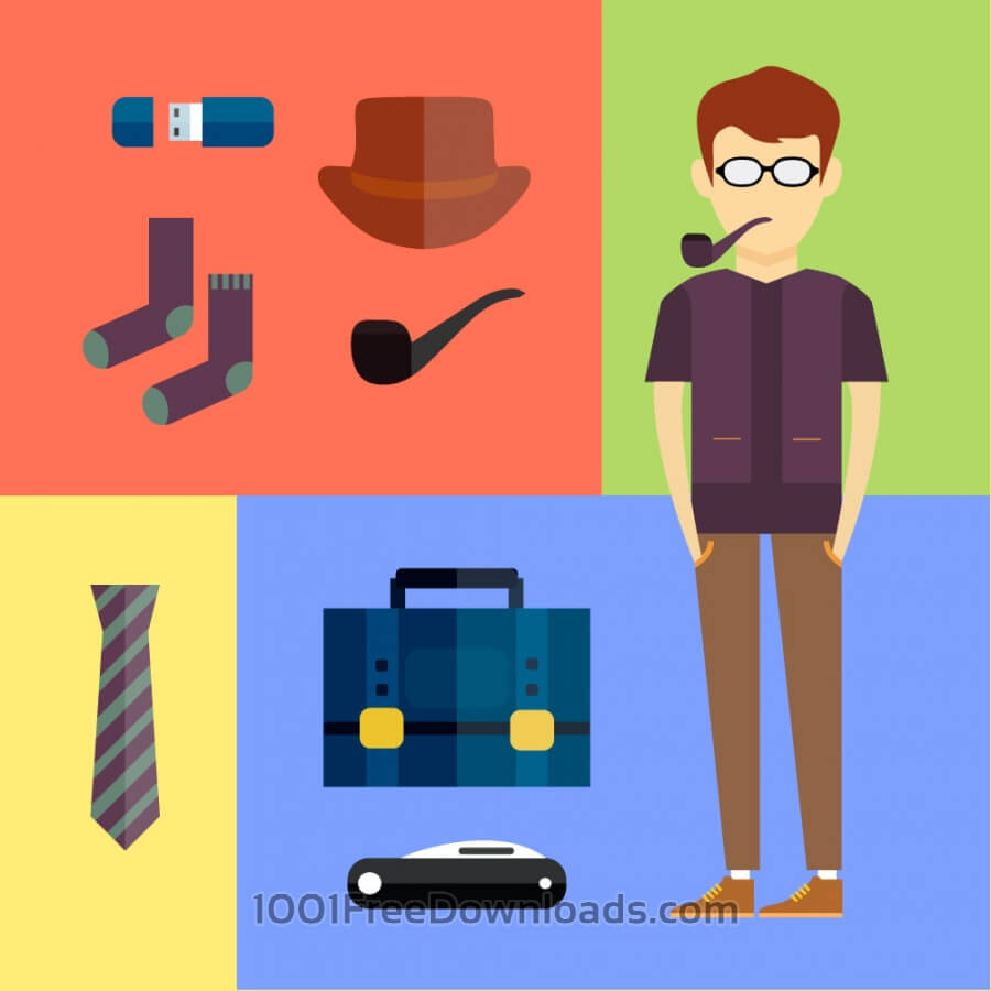 Free Vectors: People vector hipster character with tools and objects. Free illustration for design | Design