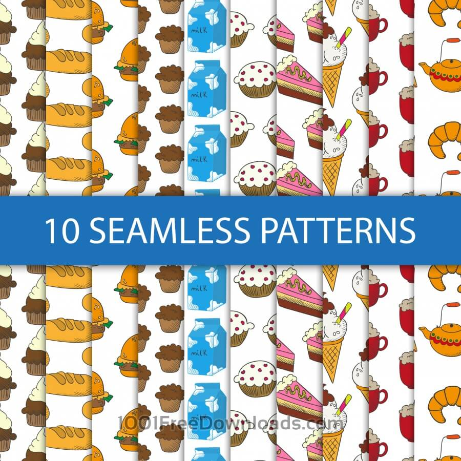 Free Vectors: Seamless patterns with food | Patterns