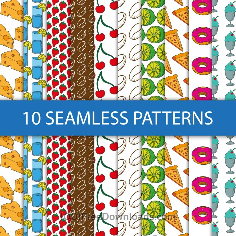 Free Seamless patterns with food