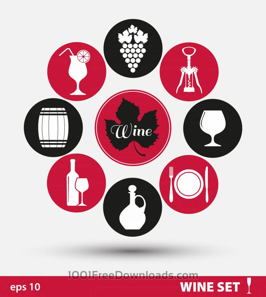 Wine set of icons