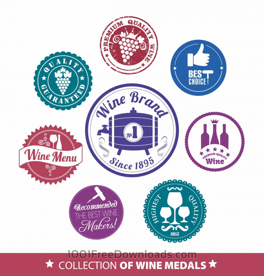 Free Vectors: Collection of wine mrdal | Food & Drinks