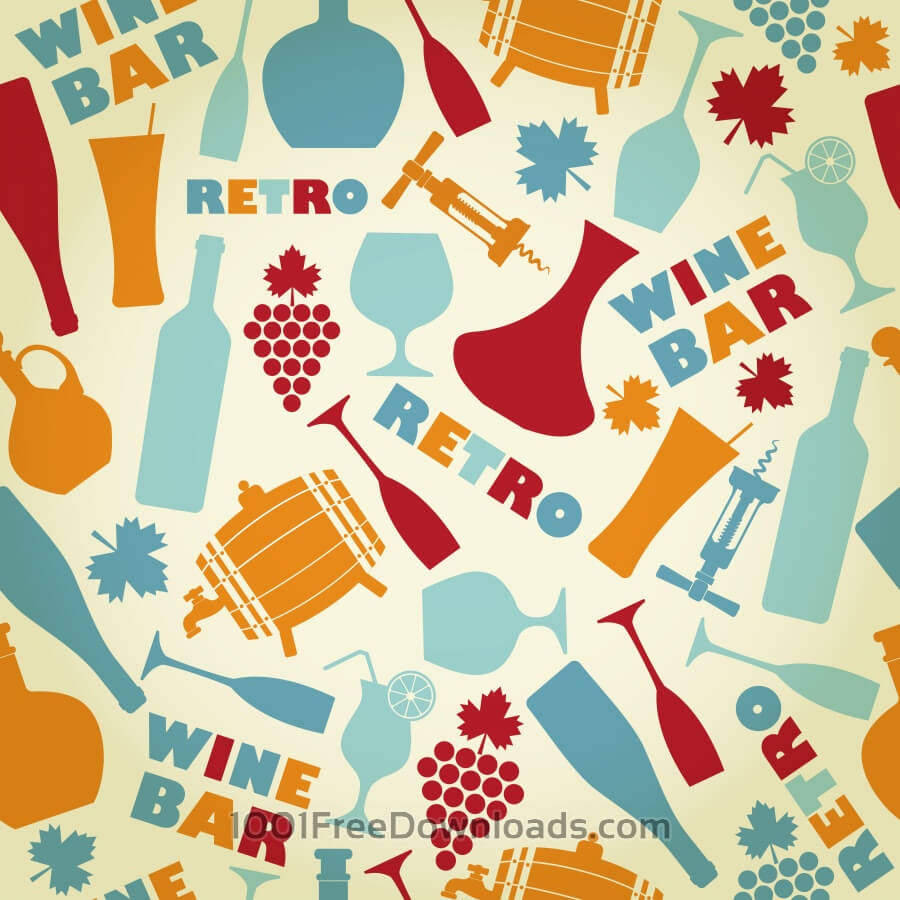 Free Vectors: Seamless pattern of wine. Vintage style. | Patterns