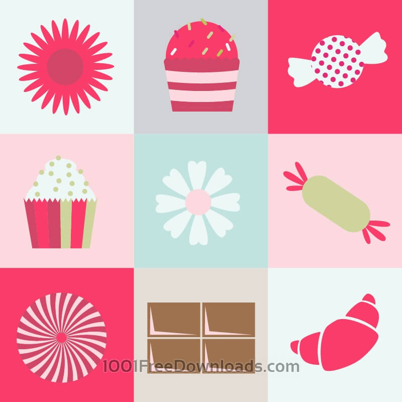 Free Vectors: Sweets and flowers on metro background | Icons