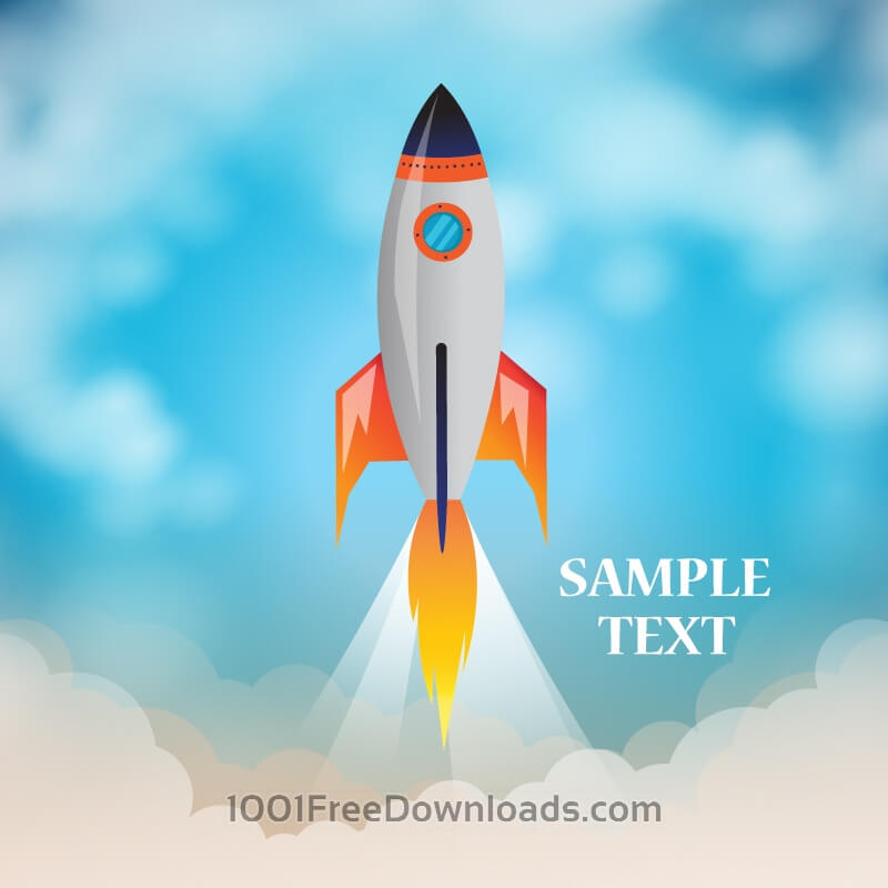 Free Space rocket launch with cloudy background