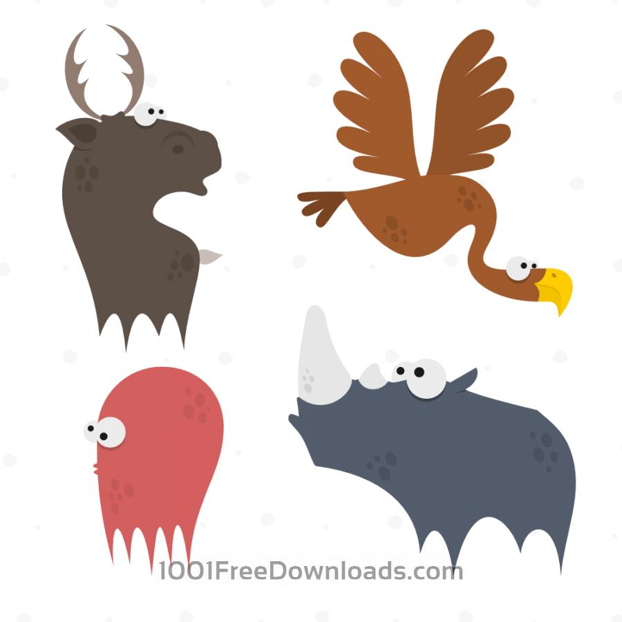 Free Cute Animals Vector Set 2