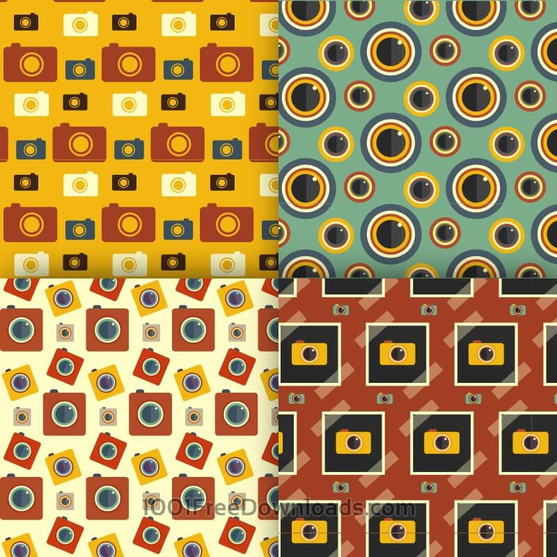 Free Photography seamless patterns set