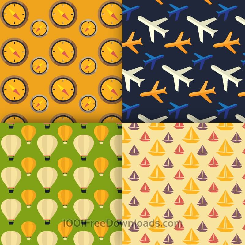 Free Vectors: Travel vector patterns | Backgrounds