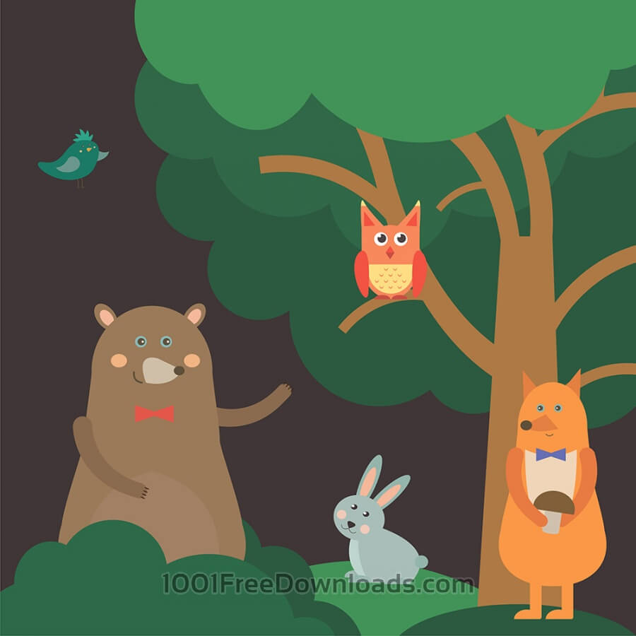 Free Vectors: Vector illustration of cute animal at night forest for free vector design | Nature