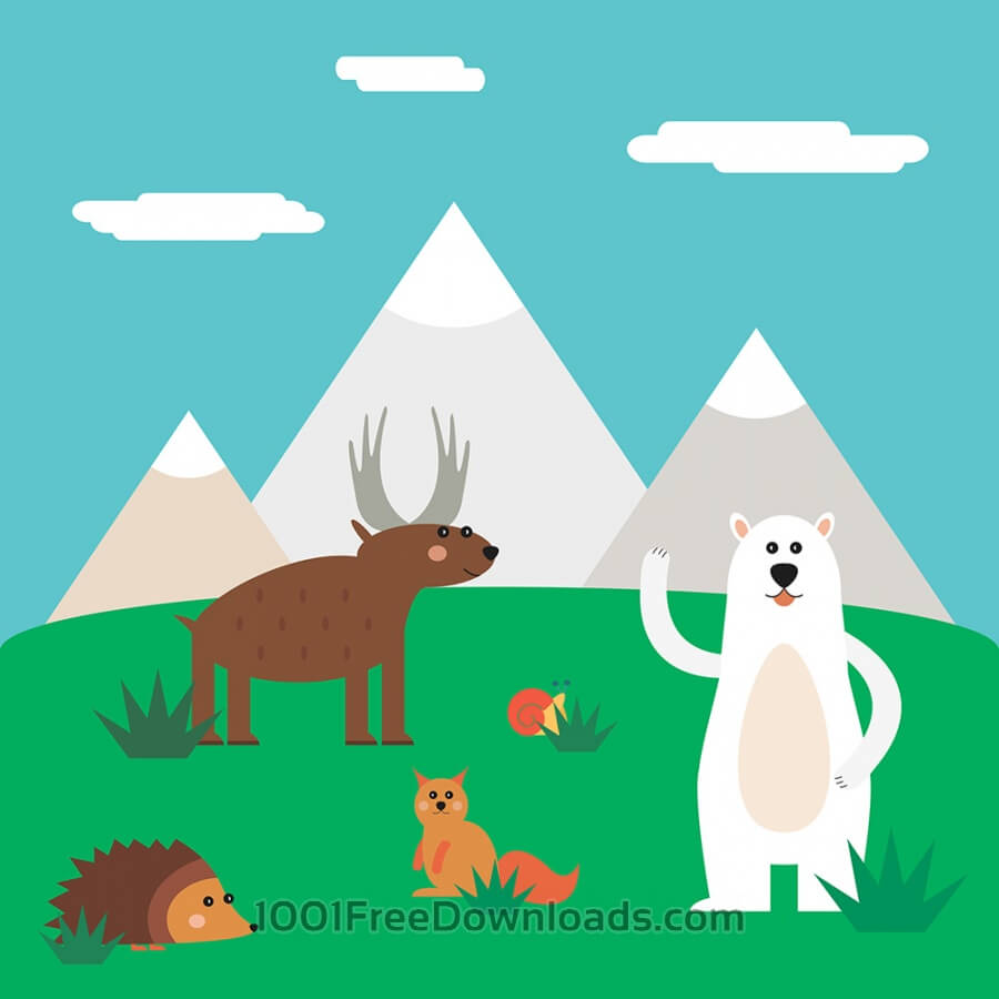 Free Vectors: Vector illustration of cute north animal set for free vector design | Nature