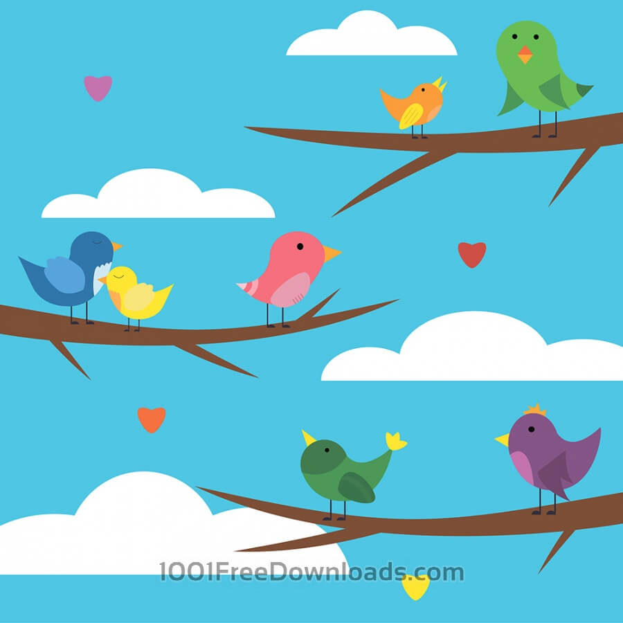 Free Vectors: Vector illustration of cute bird set for free vector design | Nature