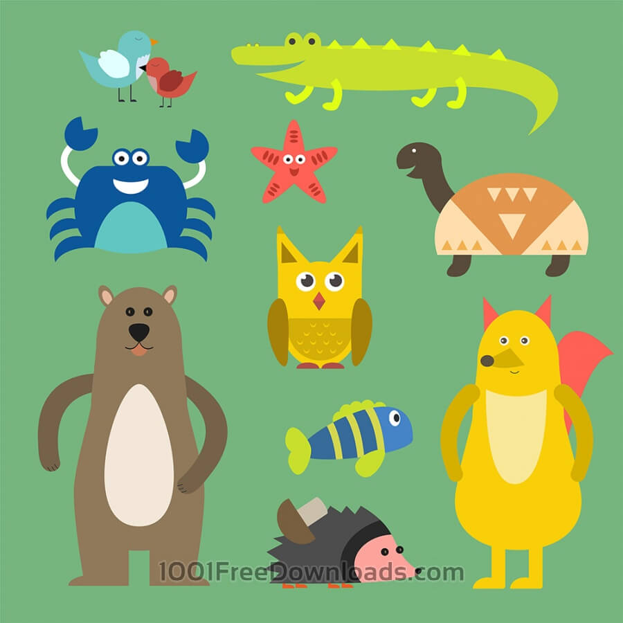 Free Vectors: Vector illustration of cute animal set for free vector design | Nature