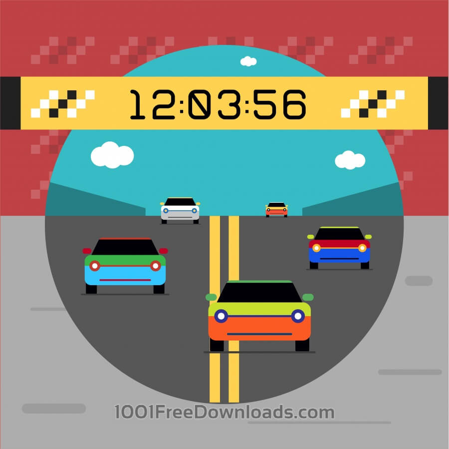 Free Vectors: Sport cars on road. Vector illustration of race | Backgrounds