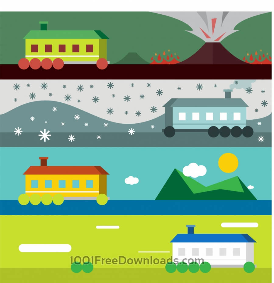 Free Vector illustration of some landscape with house and weather