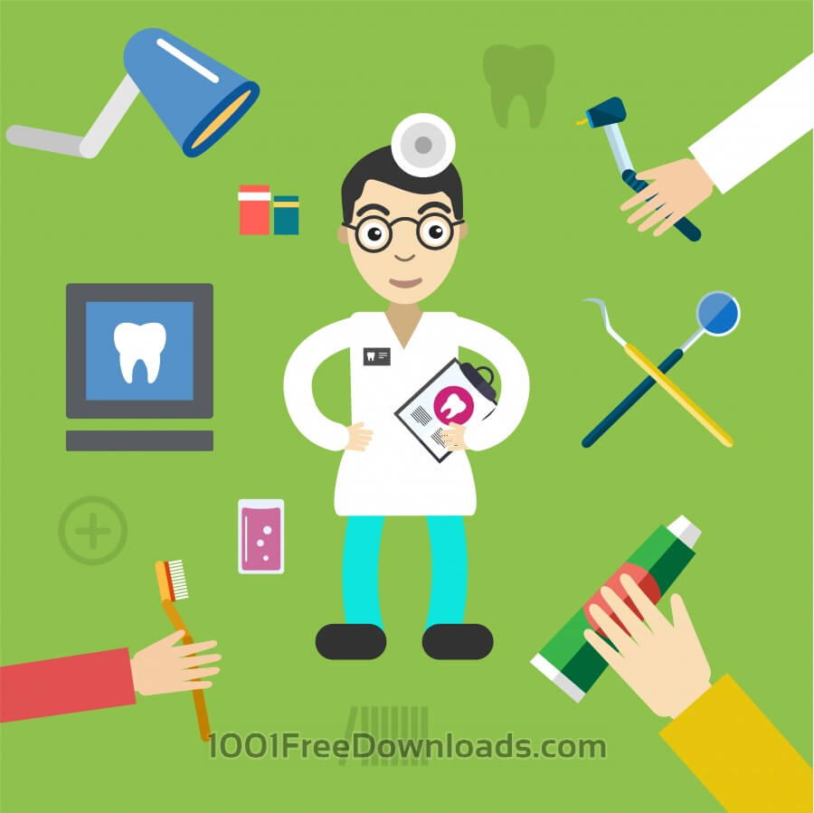 Free Dentist character with tools free vector illustration