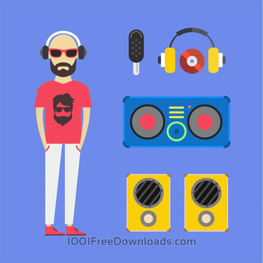 Free Vectors: Some DJ man with music tools - vector free illustration | Design