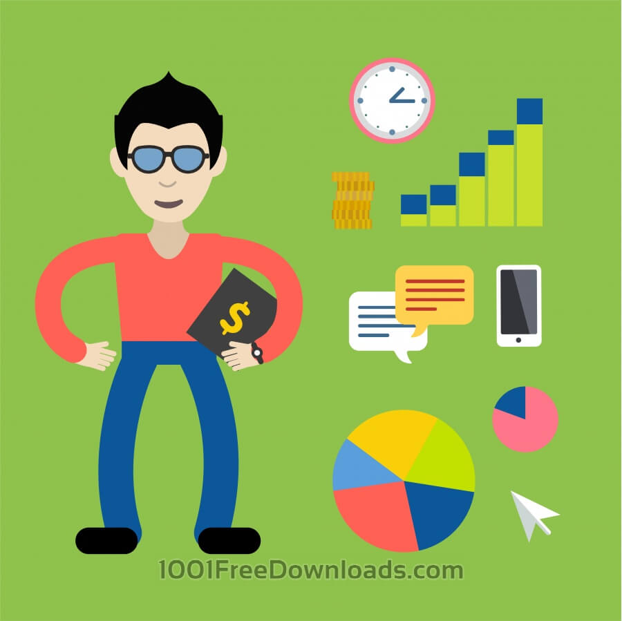 Free Some businessman with money tools - free vector illustration