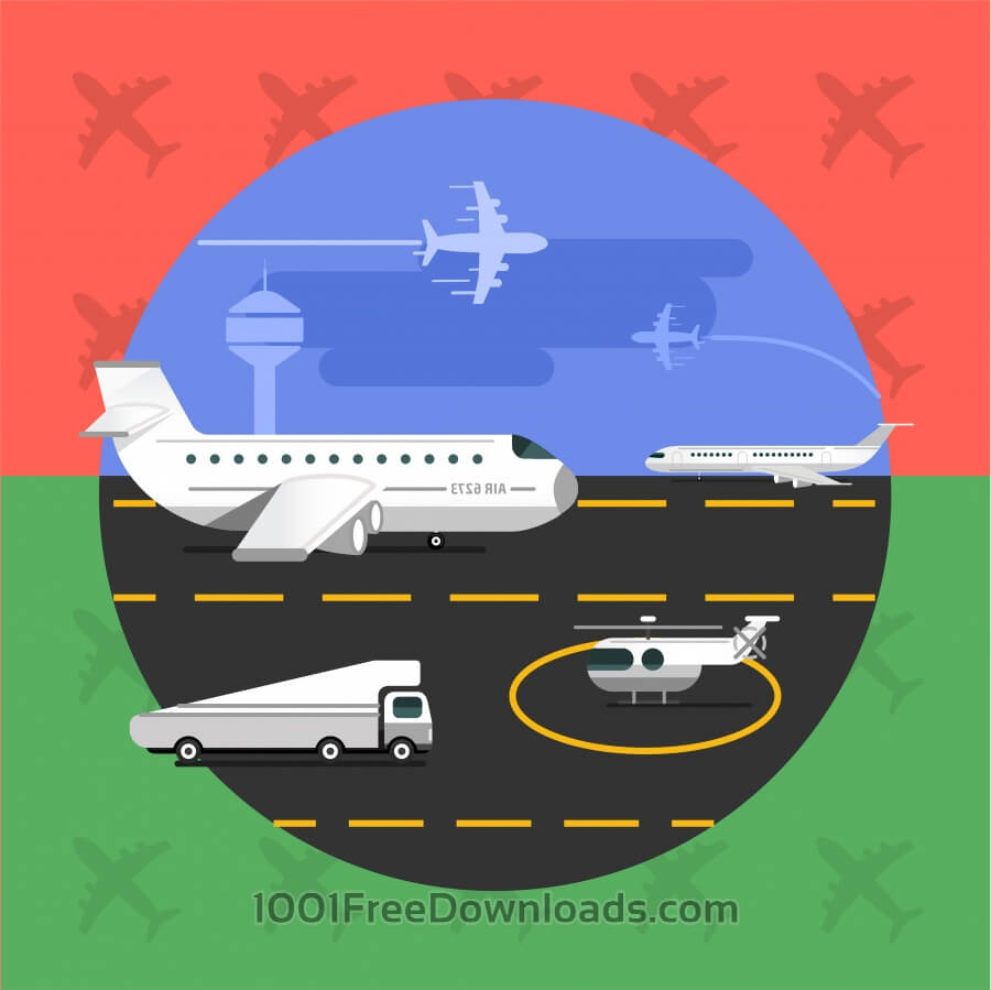 Free Vectors: Free vector illustration of airport with planes - travel | Backgrounds